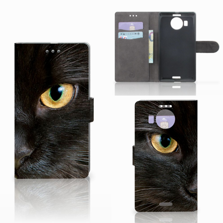 Microsoft Lumia 950 XL Telefoonhoesje met Pasjes Zwarte Kat