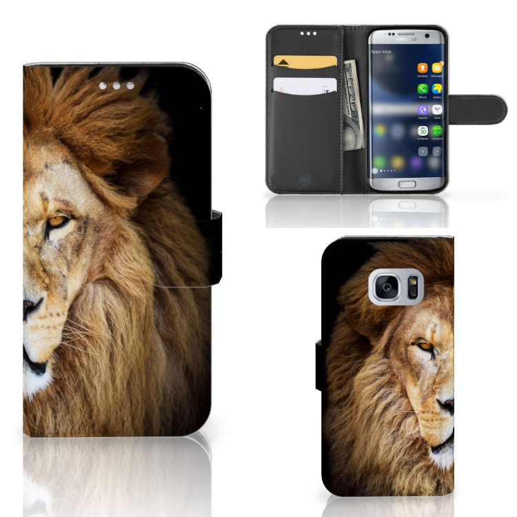 Samsung Galaxy S7 Telefoonhoesje met Pasjes Leeuw