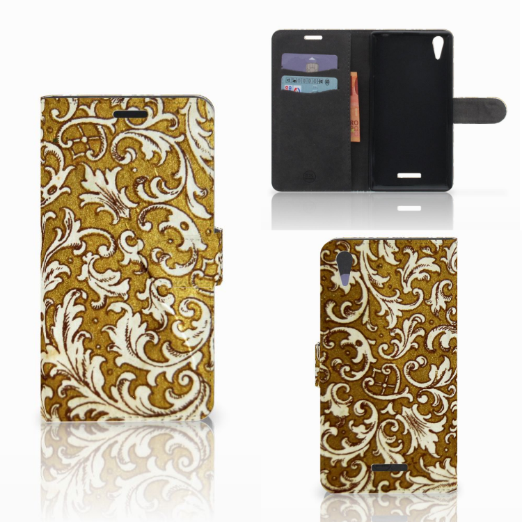 Wallet Case Sony Xperia T3 Barok Goud