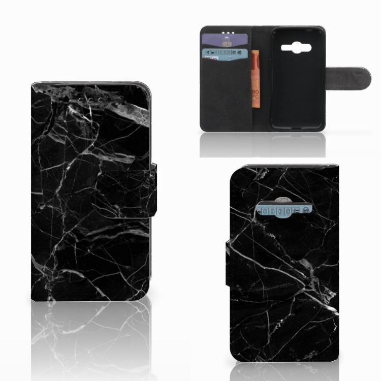 Samsung Galaxy Trend 2 Bookcase Marmer Zwart - Origineel Cadeau Vader