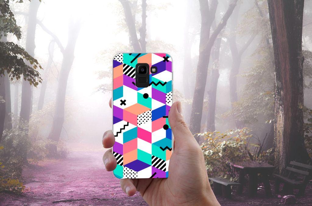 Samsung Galaxy J6 2018 TPU Hoesje Design Blocks Colorful