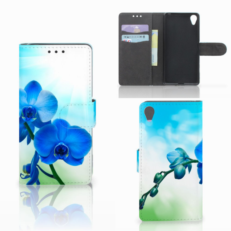 Sony Xperia X Hoesje Orchidee Blauw