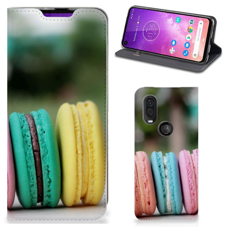 Motorola One Vision Flip Style Cover Macarons