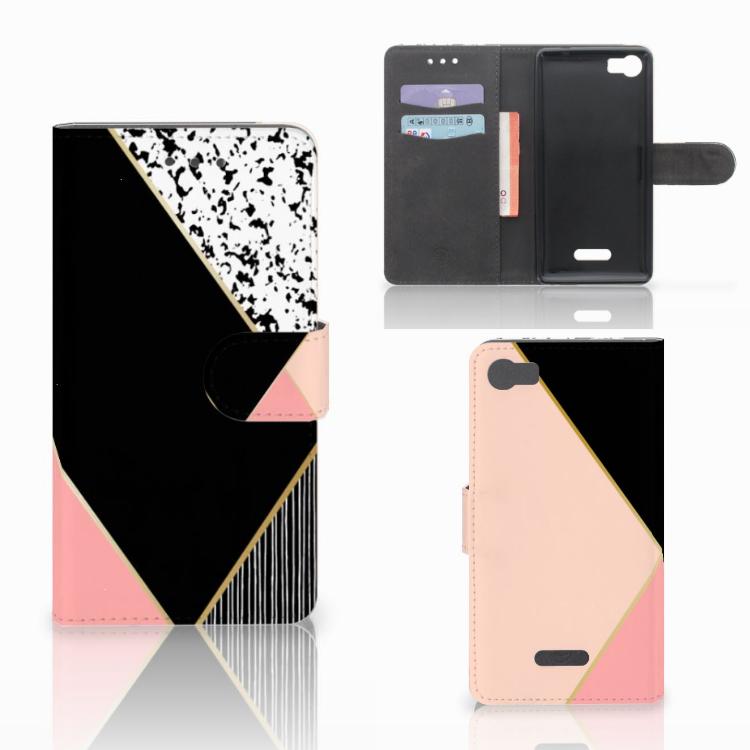 Wiko Fever (4G) Bookcase Zwart Roze Vormen