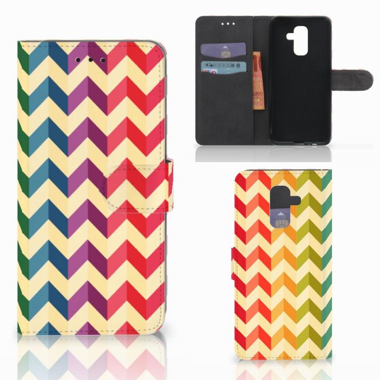Samsung Galaxy A6 Plus 2018 Telefoon Hoesje Zigzag Multi Color