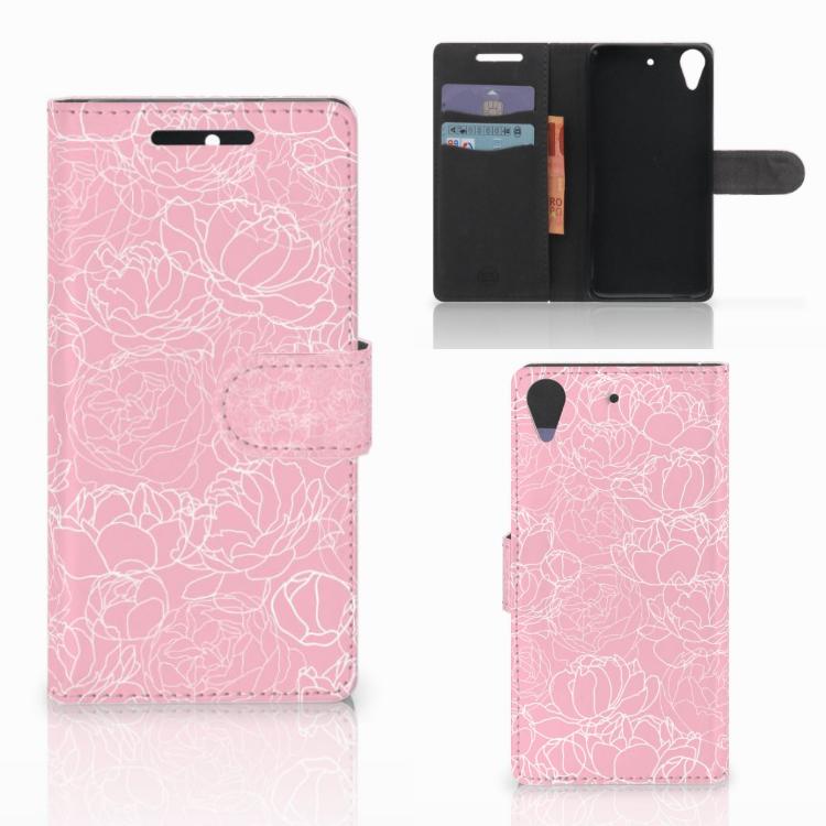 HTC Desire 628 Wallet Case White Flowers