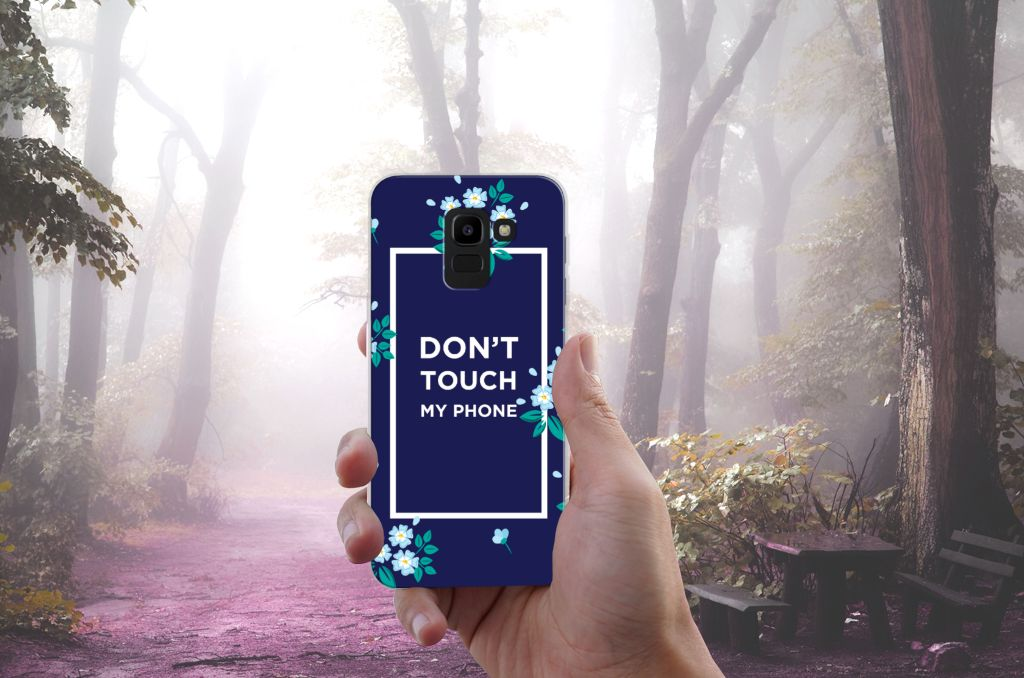 Samsung Galaxy J6 2018 TPU Hoesje Flowers Blue DTMP