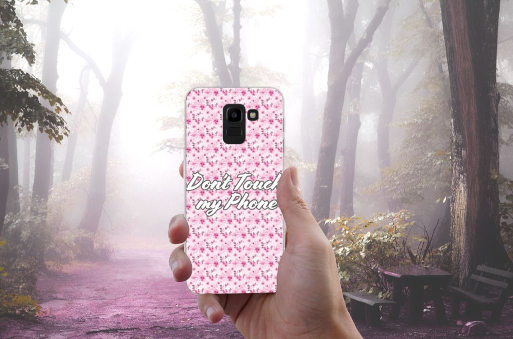 Samsung Galaxy J6 2018 Uniek TPU Hoesje Flowers Pink DTMP