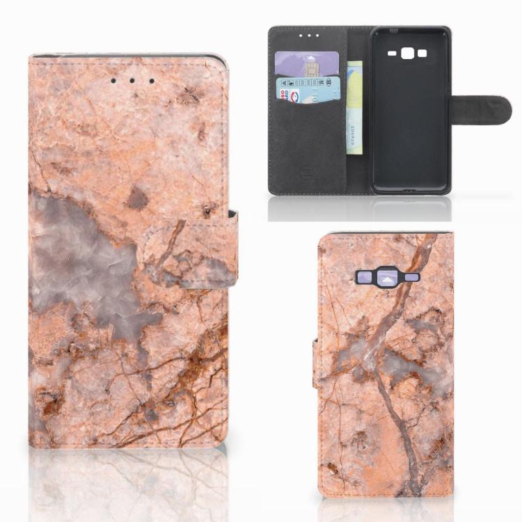 Samsung Galaxy Grand Prime | Grand Prime VE G531F Bookcase Marmer Oranje