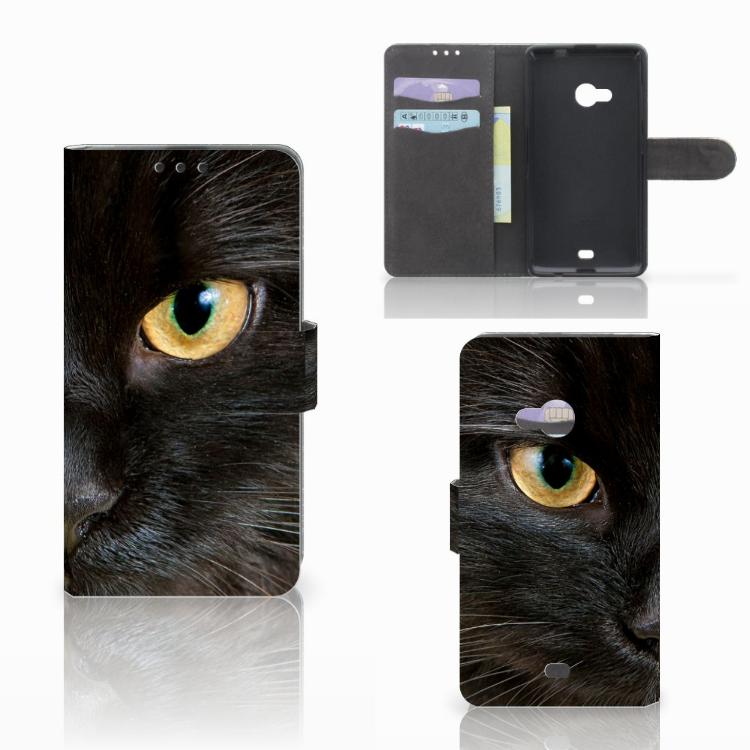 Microsoft Lumia 535 Telefoonhoesje met Pasjes Zwarte Kat