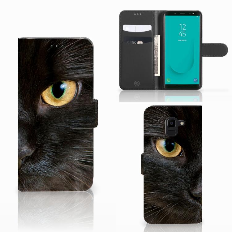 Samsung Galaxy J6 2018 Telefoonhoesje met Pasjes Zwarte Kat