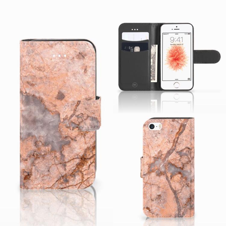 Apple iPhone 5 | 5s | SE Bookcase Marmer Oranje