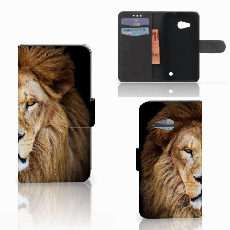 Microsoft Lumia 550 Telefoonhoesje met Pasjes Leeuw