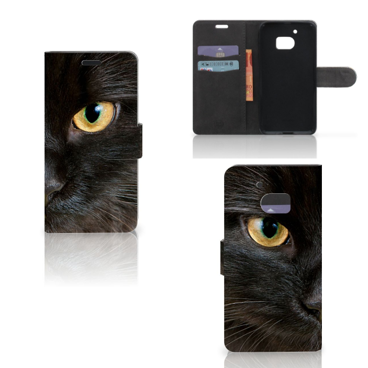 HTC 10 Telefoonhoesje met Pasjes Zwarte Kat