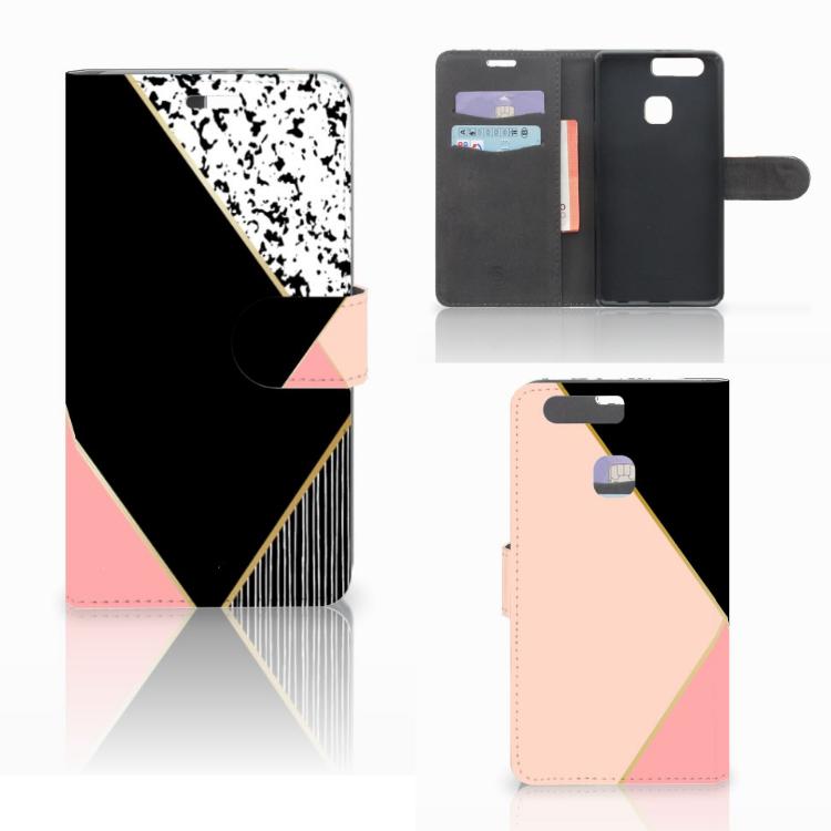Huawei P9 Plus Bookcase Zwart Roze Vormen