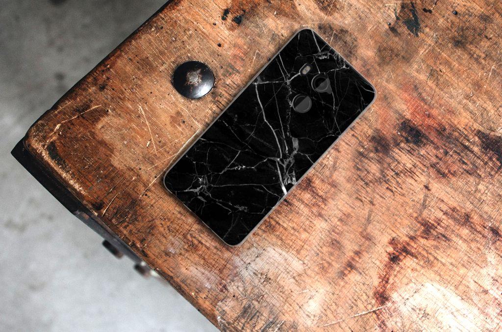 HTC U11 Plus TPU Siliconen Hoesje Marmer Zwart - Origineel Cadeau Vader