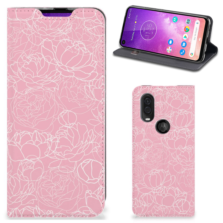 Motorola One Vision Telefoon Hoesje White Flowers