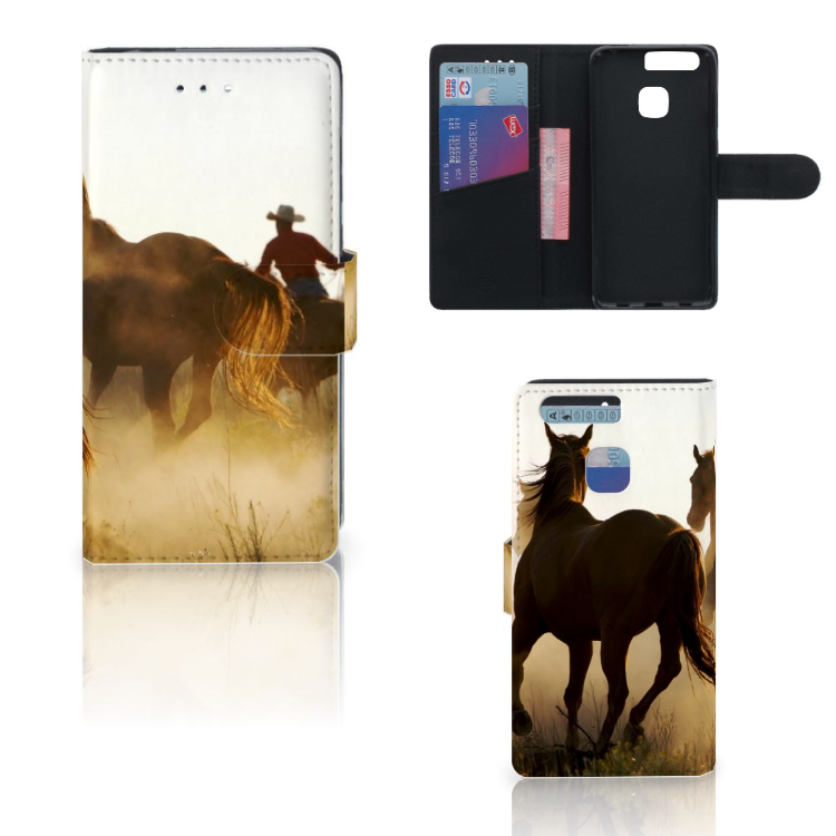 Huawei P9 Telefoonhoesje met Pasjes Design Cowboy