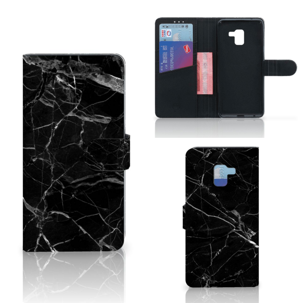 Samsung Galaxy A8 Plus (2018) Bookcase Marmer Zwart