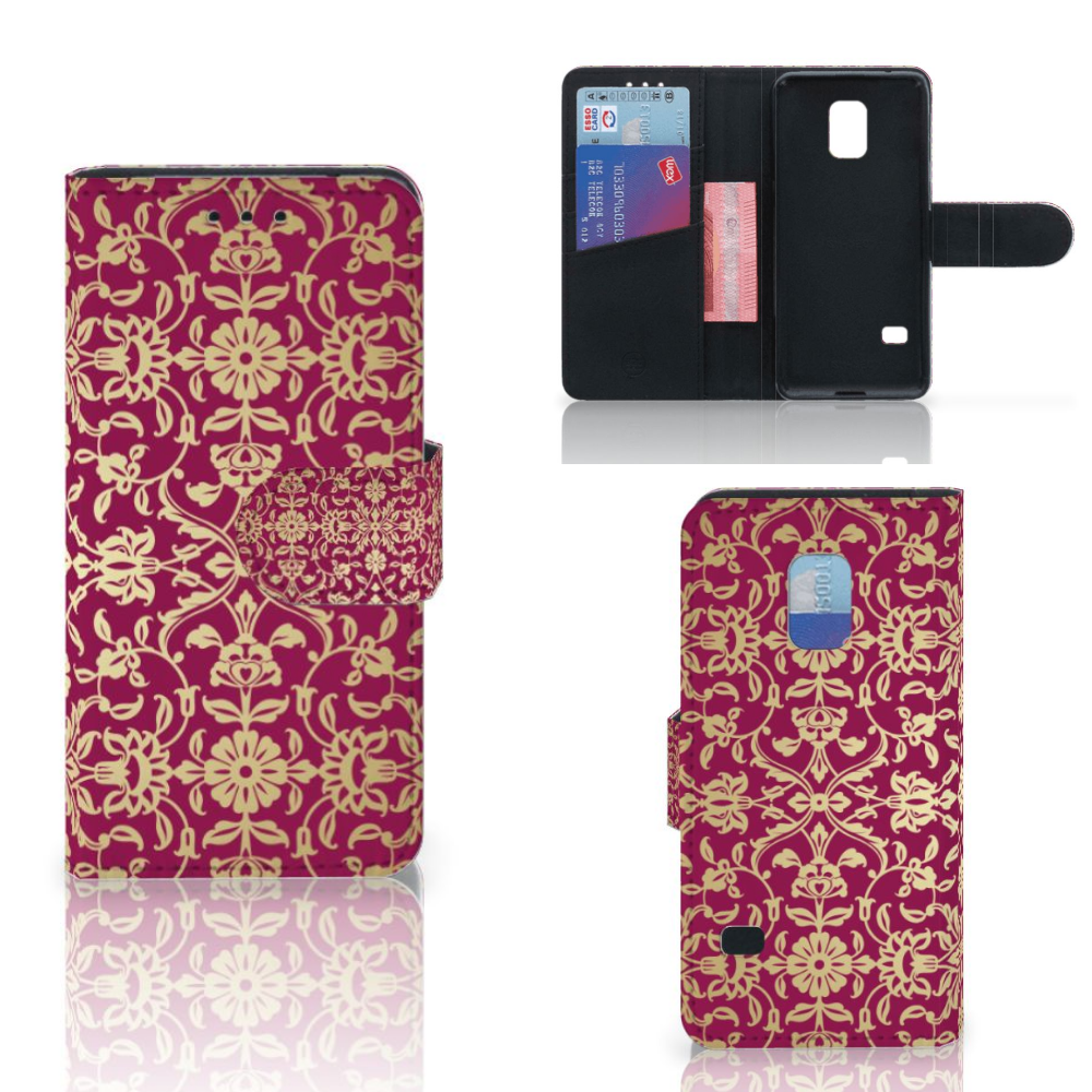 Wallet Case Samsung Galaxy S5 Mini Barok Pink