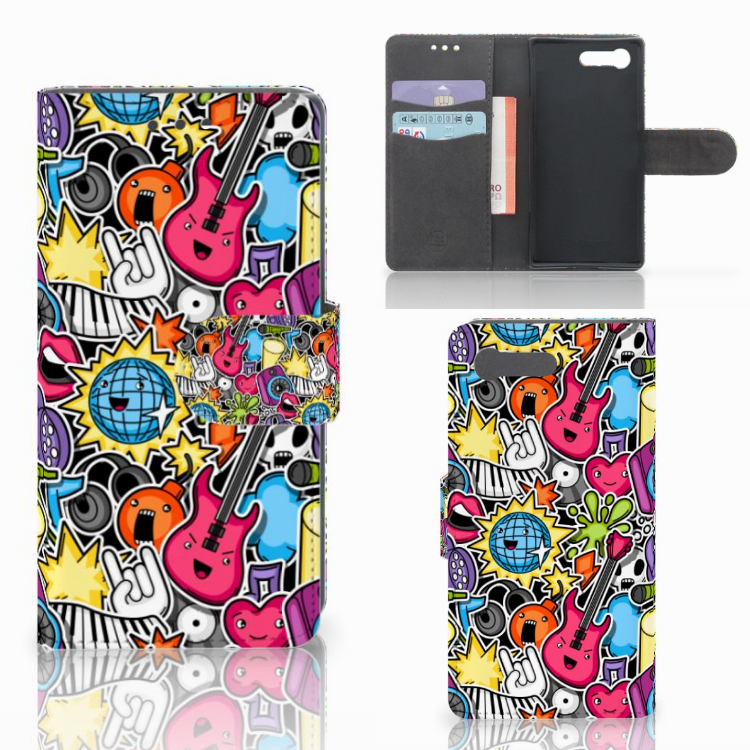 Sony Xperia X Compact Wallet Case met Pasjes Punk Rock
