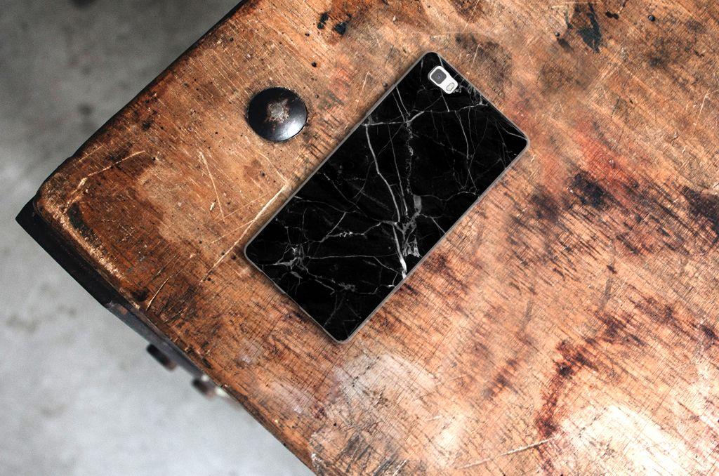 Huawei Ascend P8 Lite TPU Siliconen Hoesje Marmer Zwart
