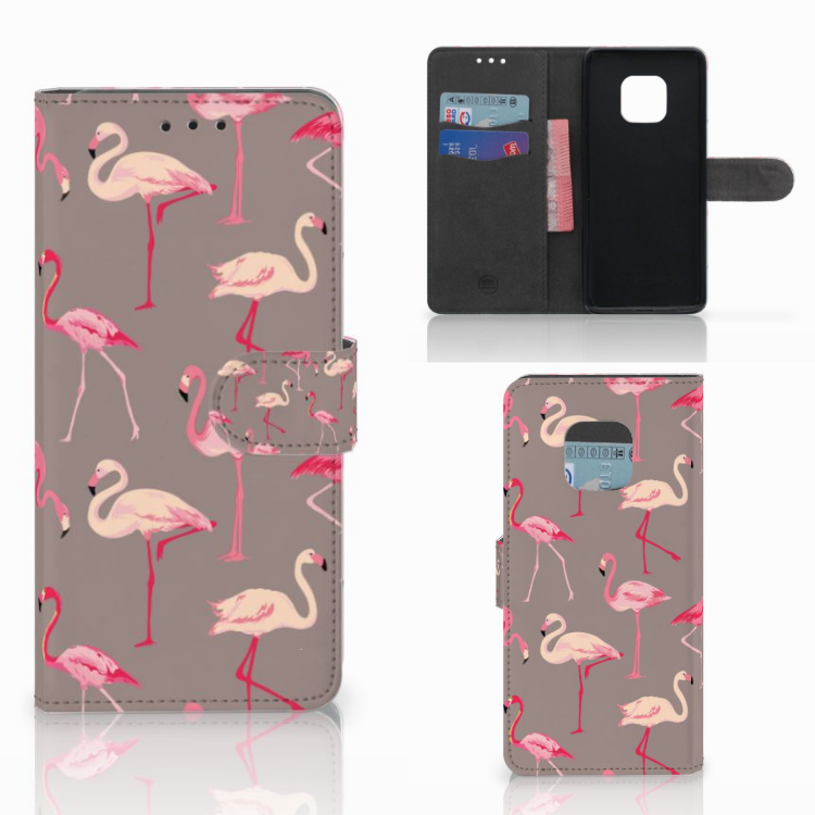 Huawei Mate 20 Pro Telefoonhoesje met Pasjes Flamingo