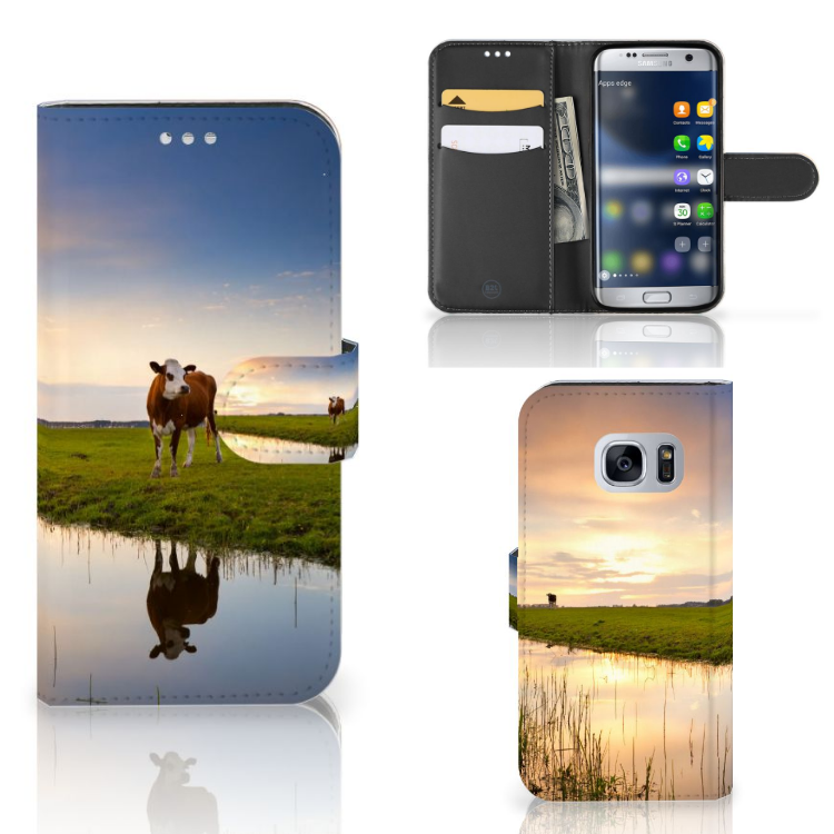 Samsung Galaxy S7 Telefoonhoesje met Pasjes Koe