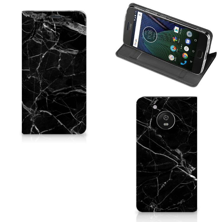 Motorola Moto G5 Standcase Marmer Zwart - Origineel Cadeau Vader