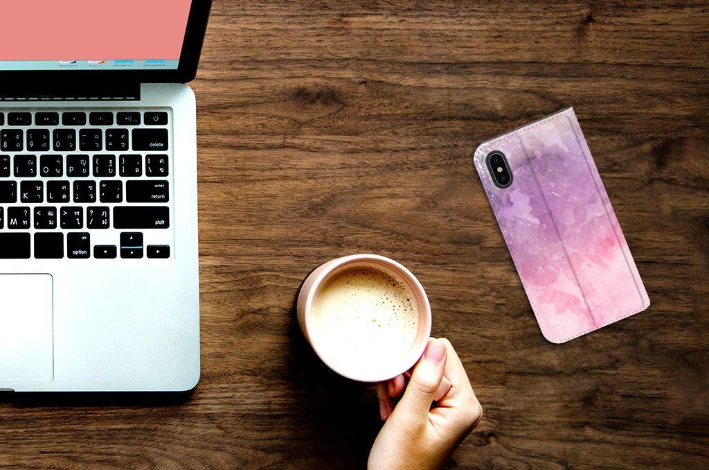 Apple iPhone X | Xs Standcase Hoesje Design Pink Purple Paint