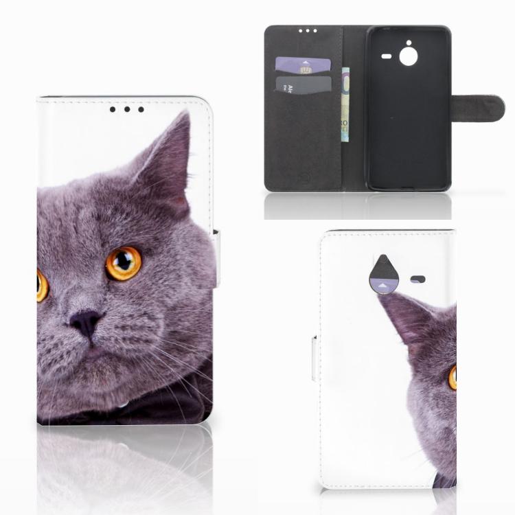 Microsoft Lumia 640 XL Telefoonhoesje met Pasjes Kat