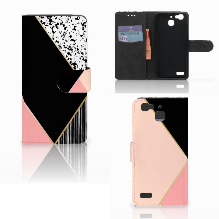 Huawei P8 Lite Smart (GR3) Bookcase Zwart Roze Vormen