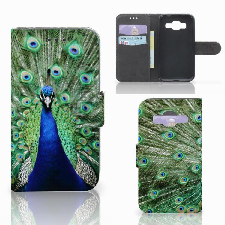 Samsung Galaxy Core Prime Telefoonhoesje met Pasjes Pauw