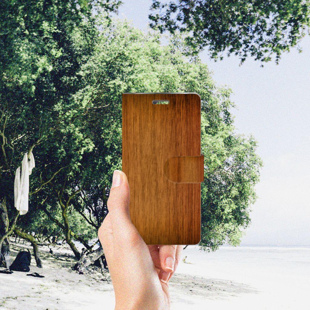 LG K10 2015 Book Style Case Donker Hout