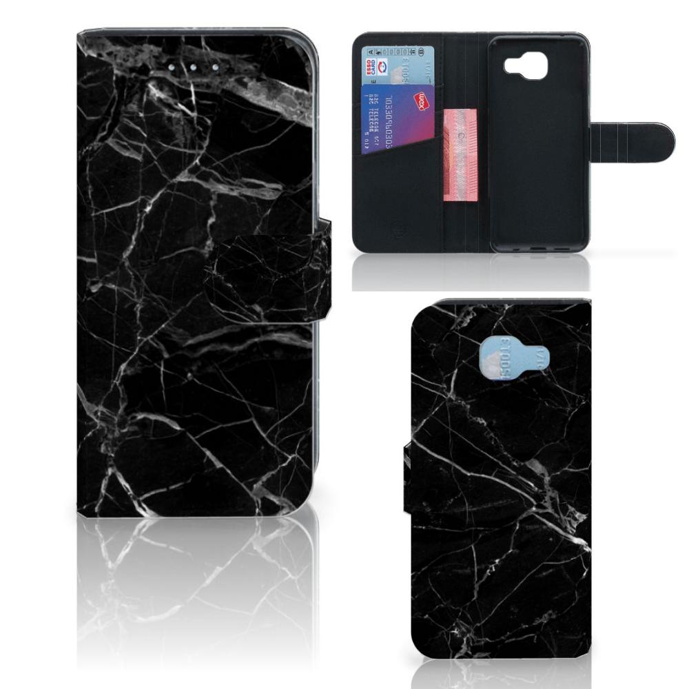 Samsung Galaxy A5 2016 Bookcase Marmer Zwart - Origineel Cadeau Vader