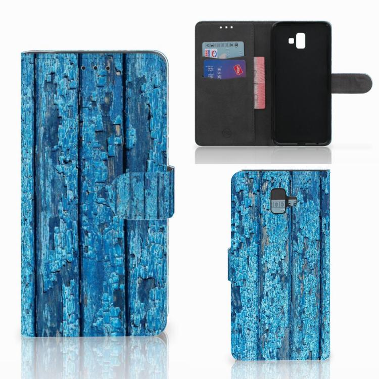 Samsung Galaxy J6 Plus (2018) Book Style Case Wood Blue