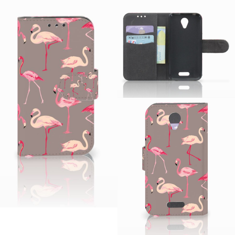 Lenovo B Telefoonhoesje met Pasjes Flamingo