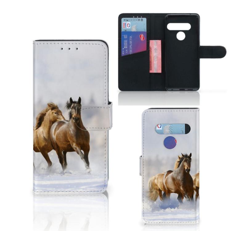 LG G8s Thinq Telefoonhoesje met Pasjes Paarden