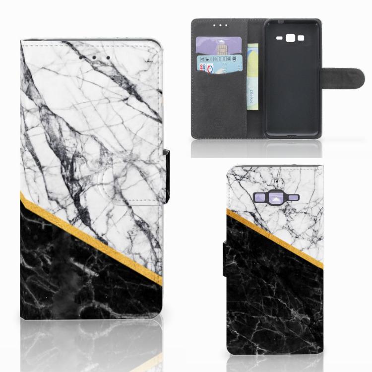 Samsung Galaxy Grand Prime | Grand Prime VE G531F Bookcase Marmer Wit Zwart - Origineel Cadeau Man