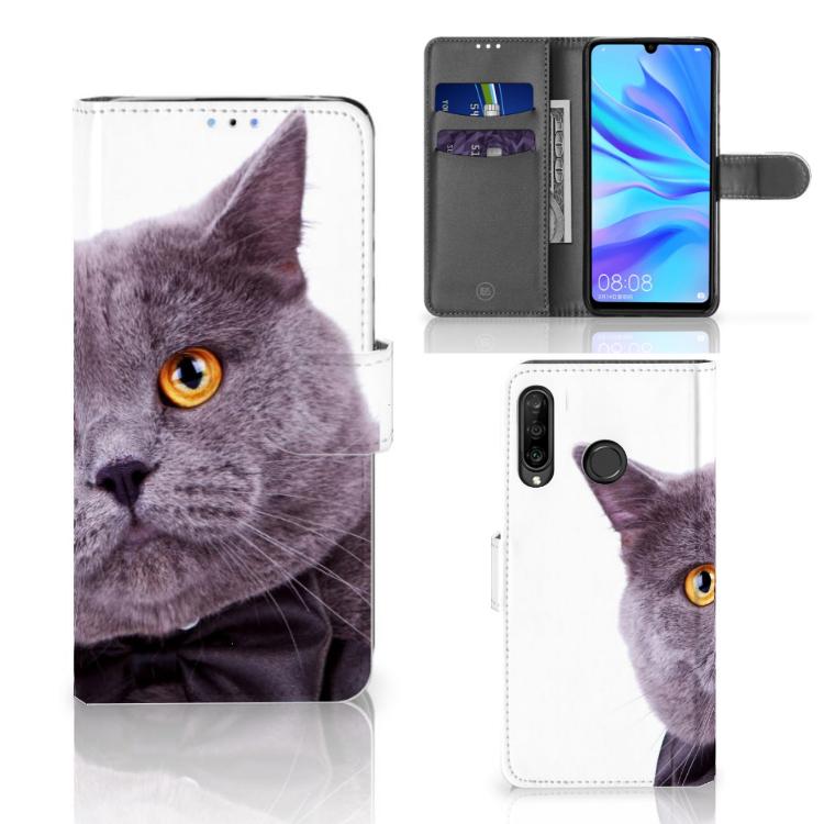 Huawei P30 Lite (2020) Telefoonhoesje met Pasjes Kat