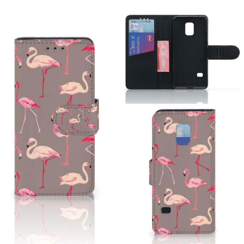 Samsung Galaxy S5 Mini Telefoonhoesje met Pasjes Flamingo