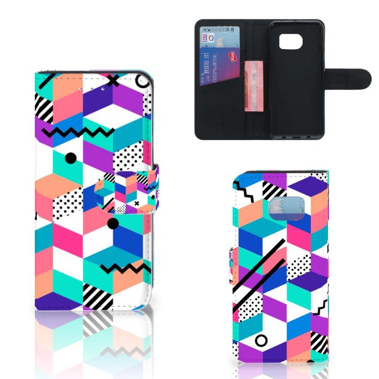 Samsung Galaxy S6 Edge Bookcase Blokken Kleurrijk