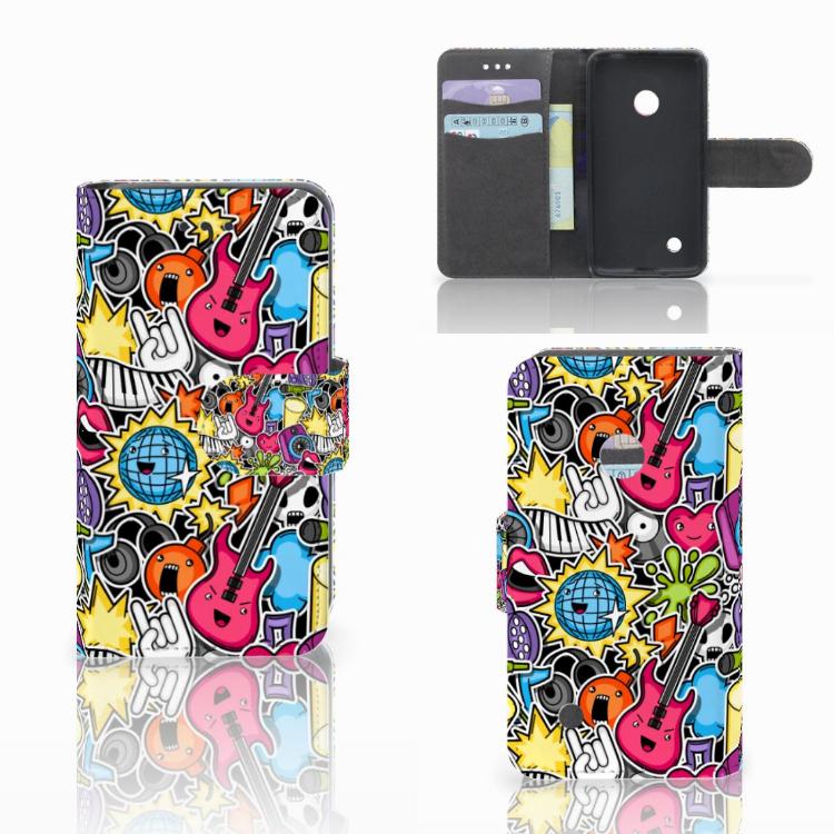 Nokia Lumia 530 Wallet Case met Pasjes Punk Rock