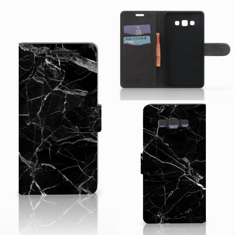 Samsung Galaxy A7 2015 Bookcase Marmer Zwart