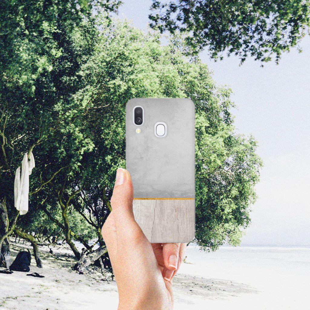 Samsung Galaxy A40 Bumper Hoesje Wood Concrete