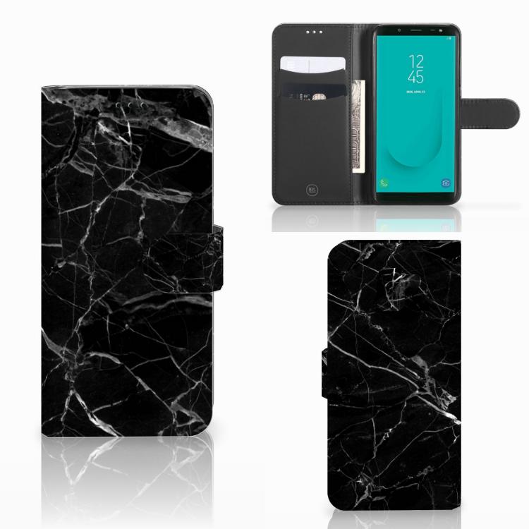 Samsung Galaxy J6 2018 Bookcase Marmer Zwart - Origineel Cadeau Vader