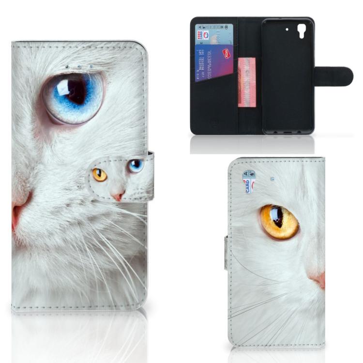 Honor 4A   Y6 Telefoonhoesje met Pasjes Witte Kat