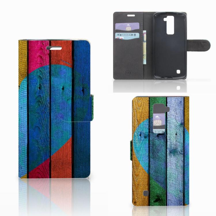 LG K10 2015 Book Style Case Wood Heart - Cadeau voor je Vriend