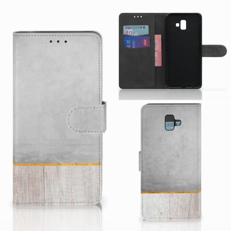 Samsung Galaxy J6 Plus (2018) Book Style Case Wood Concrete
