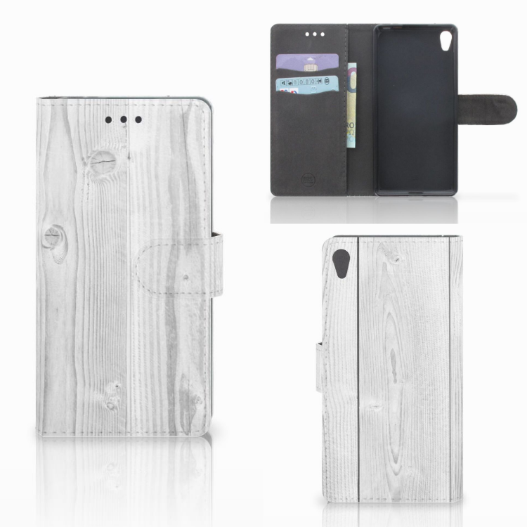 Sony Xperia E5 Book Style Case White Wood